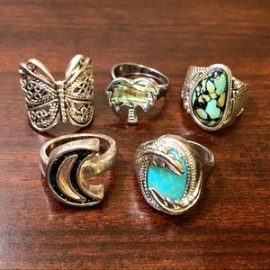 Silvertone Statement Faux Stone Large Rings LOT